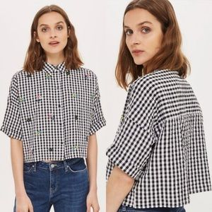 Topshop Kady Embroidered Gingham Crop Button Up
